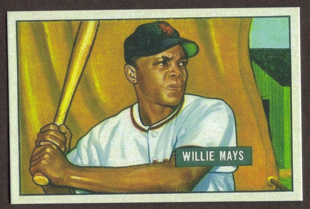 Willie Mays Rookie Rp 305 Light Bk Giants 1951 B Free Shipping