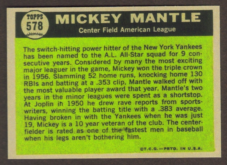 MICKEY MANTLE RP #578 All Star Yankees 1961 T Free Shipping