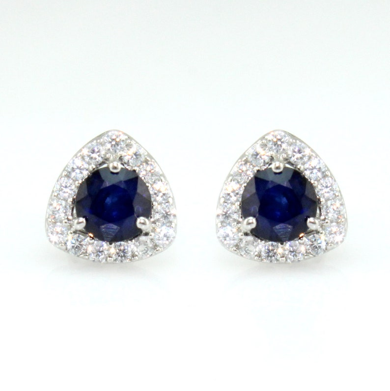 Blue sapphire stud earrings 5x5 mm in 925 sterling silver  gift for her  natural gems jewelry silversilver studs Diffused Sapphire studs