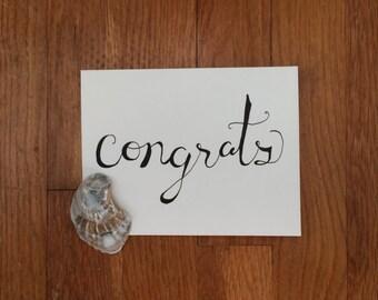 Congrats Handwritten Calligraphy Greeting Card