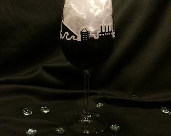 Baltimore Night Skyline Wine Glass