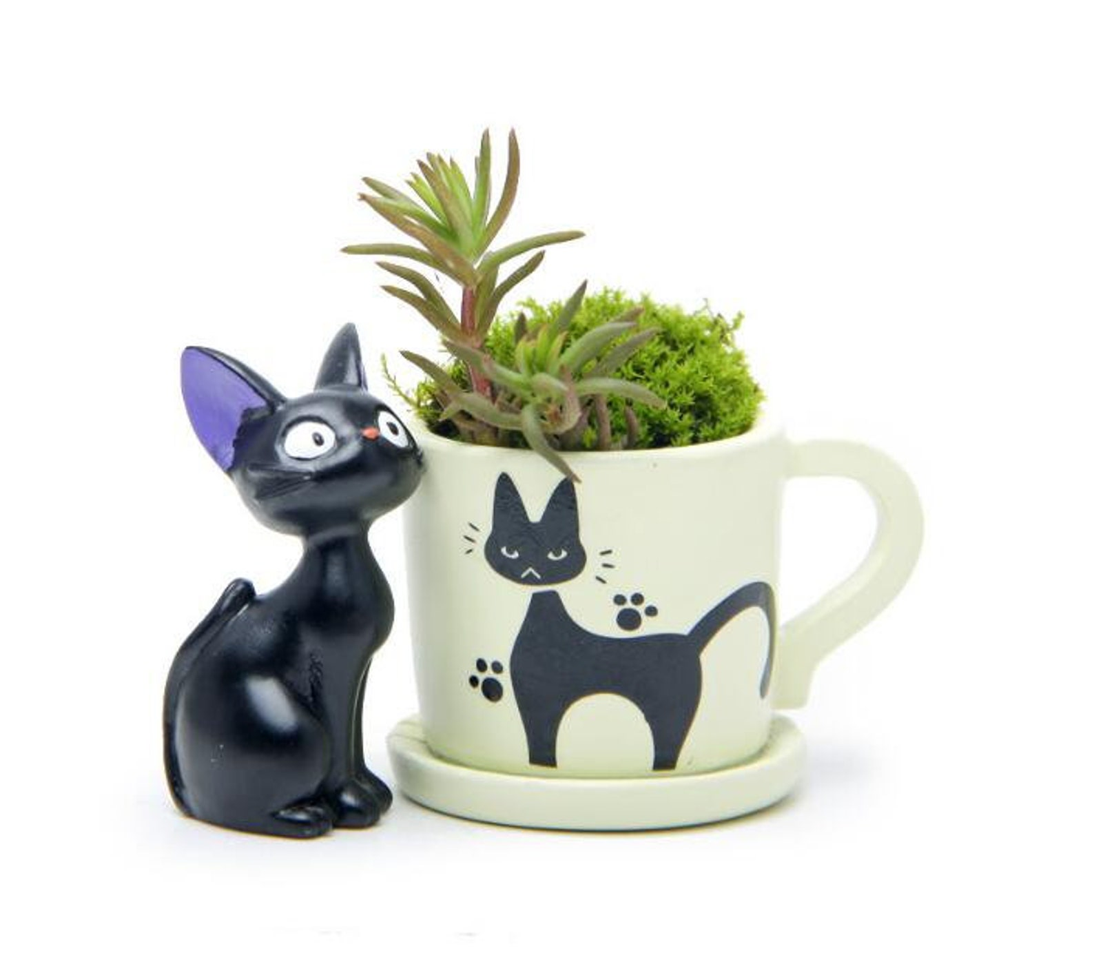 Kiki's Delivery Service Desk Display Flowerpot Black Cat Succulent Container