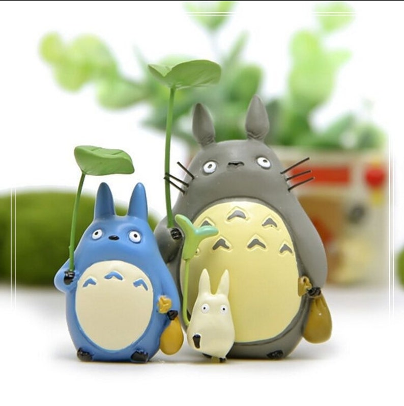 3pc Holding Leaves W Bag Totoro Figurine Home Decor Ornaments Etsy