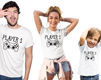 d8ffbdef Family t-shirts, Matching shirts, Family outfits, Family matching outfit,  Player 1 Player 2 Player 3 shirts, Family tshirts