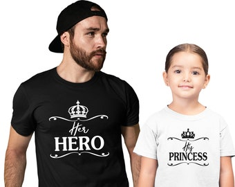 Dad And Daughter Princess And Hero Matching T-ShirtsFathers Day Gifts