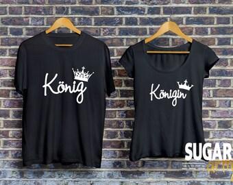 Conjunto camiseta de König Königin Pärchen, rey y Reina de camisetas para parejas, Pärchen-T-shirt, camisas für Paare, Paare camiseta, camisetas de algodón 100%