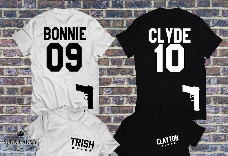 Bonnie and Clyde shirts with guns, couples shirts, Bonnie Clyde shirts,  Custom number option, King queen shirts, Pärchen-T-shirts