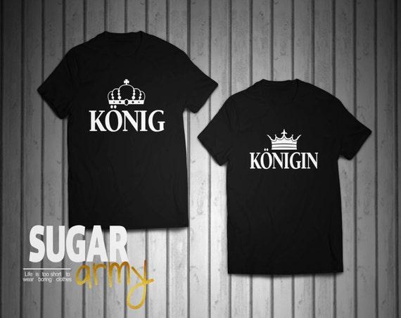 König Königin Pärchen T-shirt, KING and QUEEN set of t-shirts for couples, Pärchen-T-shirt, zusammenpassende Pärchen-T-shirt