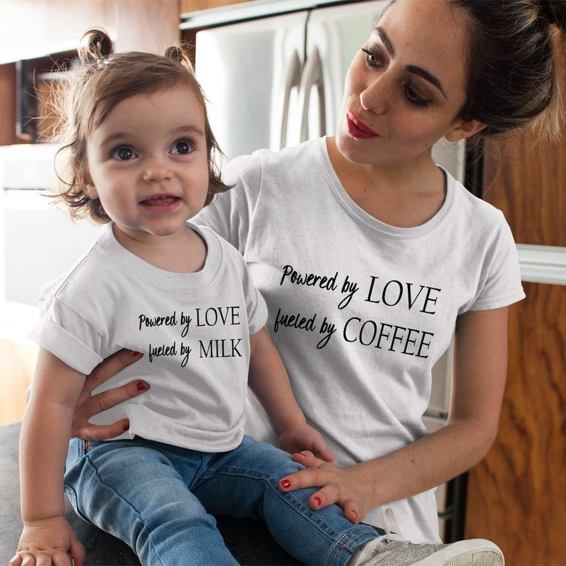4afb9abd474 Powered by Love Mom and Daughter matching t-shirts, Mommy and Me shirts,  Mom and baby matching t-shirts, Mom Gift Ideas, New Mom Gifts