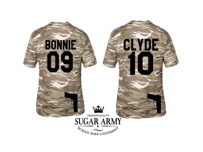 Bonnie clyde shirts, Bonnie and clyde tshirts, SPECIAL EDITION with guns,  Army Bonnie and Clyde shirts couple matching shirts,