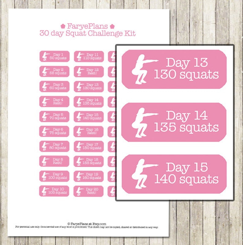 graphic relating to 30 Day Squat Challenge Printable known as Health 30 working day squat concern printable planner stickers for Erin Condren Lifeplanner, Filofax, Joyful Planner, sbook / Instantaneous Obtain