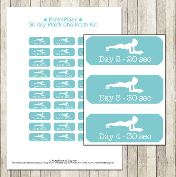 graphic about 30 Day Plank Challenge Printable known as Conditioning 30 working day plank concern printable planner stickers for Erin Condren Lifeplanner, Filofax, Pleased Planner, sbook / Immediate Obtain