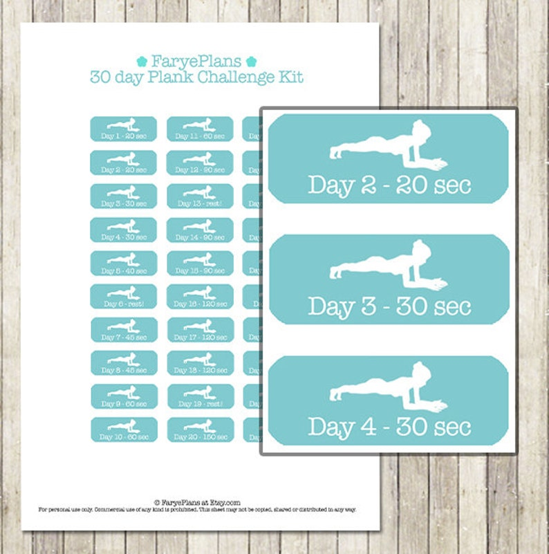 picture about 30 Day Plank Challenge Printable named Conditioning 30 working day plank situation printable planner stickers for Erin Condren Lifeplanner, Filofax, Pleased Planner, sbook / Fast Obtain