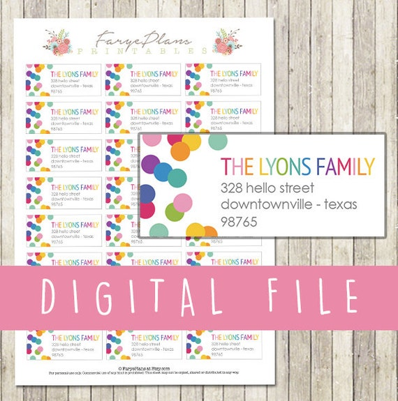 Personalized return address or shipping labels for your letters or  envelopes / DIGITAL FILE / printable PDF / Erin Condren style