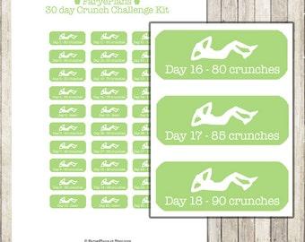 Fitness 30 day crunch challenge printable planner stickers for Erin Condren Lifeplanner, Happy Planner, scrapbook / INSTANT DOWNLOAD