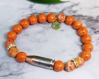 Orange Gemstones 9mm Bullet Bracelet