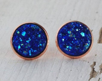 Metallic Blue w/Rose Gold Setting