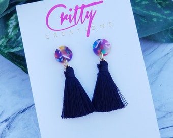 Black Short Tassel Earrings