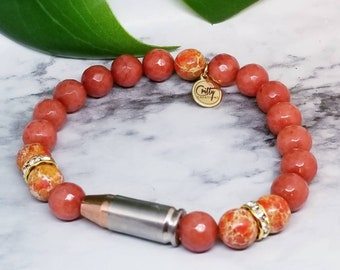 Burnt Orange Gemstones 9mm Bullet Bracelet