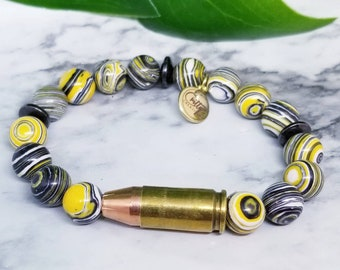 Yellow Malachite Peacock 9mm Bullet Bracelet