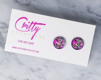 Diva Roses 12mm resin cabochons earrings