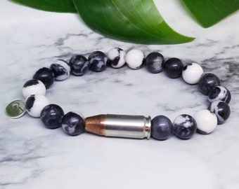 Black and white 9mm Bullet Bracelet