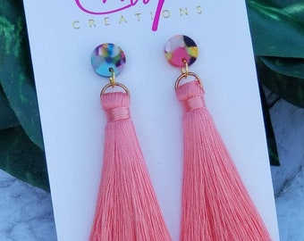 Pink Cloud Tassel Earrings