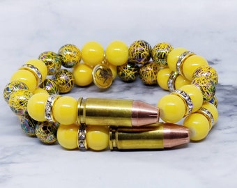 Yellow Static Gemstones 9mm Bullet Bracelet
