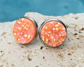 Orange Cluster Druzy Stud Earrings 12mm