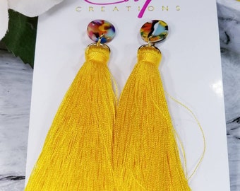 Sunflower Yellow Tassel Earrings