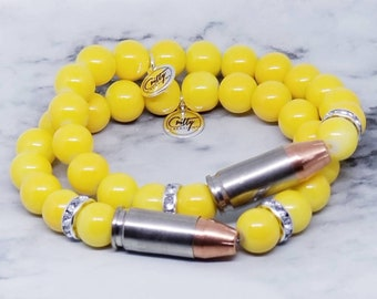 Lemon Starburst Gemstones 9mm Bullet Bracelet