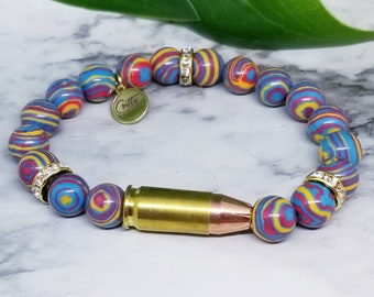 Malachite Peacock 9mm Bullet Bracelet