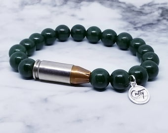 Dark Green Jade Gemstone 9mm Bullet Bracelet