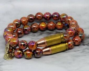 Orange Rage Gemstones 9mm Bullet Bracelet