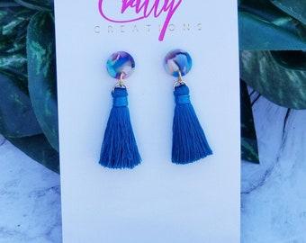 Aqua Blue Short Tassel Earrings