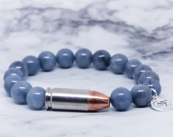 Gray Skies Gemstone 9mm Bullet Bracelet