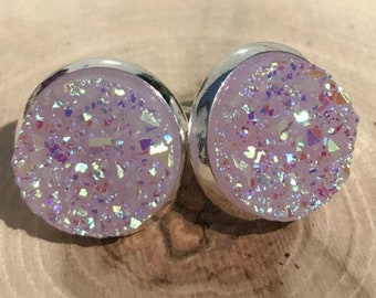 Lilac Druzy Stud Earrings 12mm