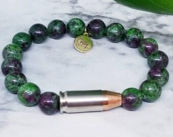 Zoisite Ruby 9mm Bullet Bracelet