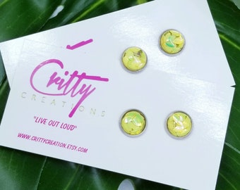 Holographic Petal Glitter 10mm resin cabochons earrings
