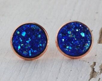 Metallic Blue w/Rose Gold Setting