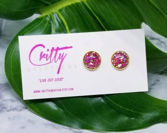 Pink Gold Confetti 12mm resin cabochons earrings
