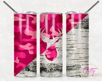 Pink Camo Deer Tumbler