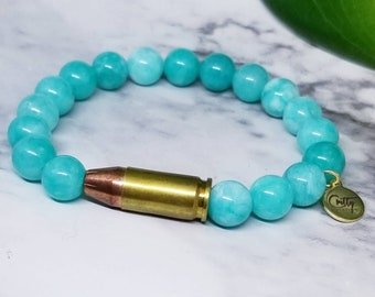 Aqua Gemstone 9mm Bullet Bracelet