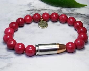 Cranberry Jade 9mm Bullet Bracelet