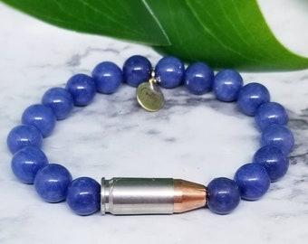 Cerulean Blue 9mm Bullet Bracelet