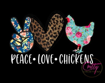 Peace Love Chickens Tumbler Template