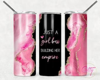 Pink Girl Boss Marble Black Tumbler