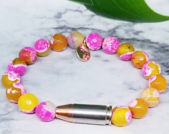 Pink Orange Gemstone 9mm Bullet Bracelet