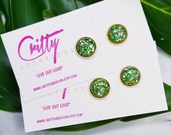 Spring Garden Glitter 12mm resin cabochons earrings