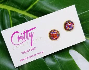 Wonder Woman Confetti 12mm resin cabochons earrings